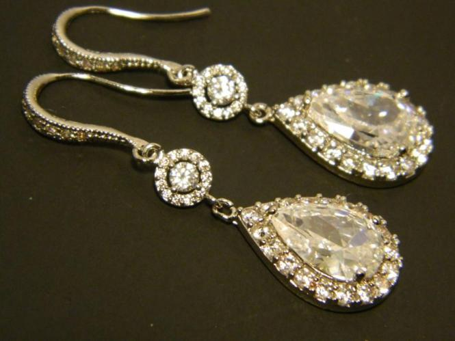Cubic Zirconia Chandelier Earrings Crystal Bridal Wedding Cz Teardrop Dangle Sparkly Halo Prom Jewelry 37 90 Usd