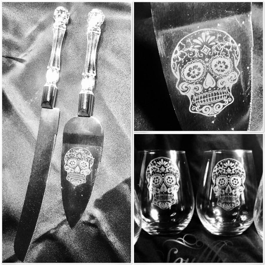 SUGAR SKULL Wedding Cake Server And Glass Set Day Of The