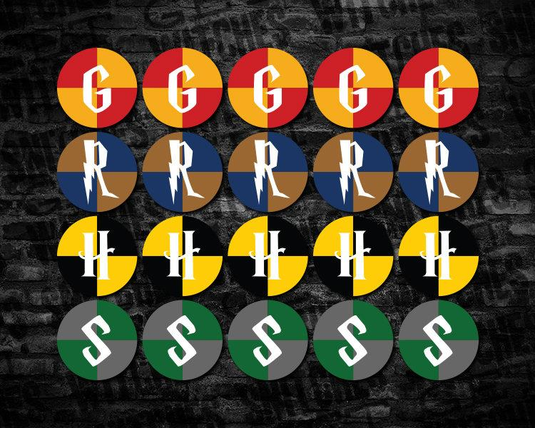Hogwarts Houses Printable 2 Circle Cupcake Toppers Harry