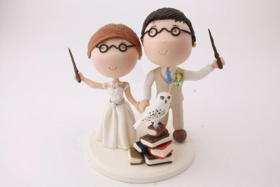 Magical Couple Holding Wands With Pet Owl   Harry Potter Theme     Magical Couple holding wands with pet owl   Harry Potter Theme Wedding cake  topper  Wedding figurine  Handmade  Fully customizable