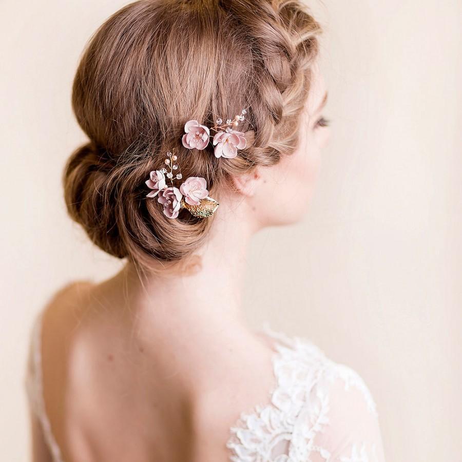 flower hair pins cherry blossom bridal hairpins wedding hair clips silk flower tiny headpiece floral accessories for wedding