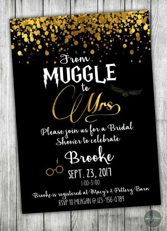 Custom Harry Potter Bridal Shower Invitation Muggle To Mrs Bridal Shower Wedding Shower