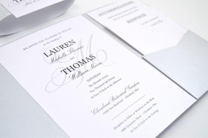 Glitter Wedding Invitations Pocketfold Silver Elegant