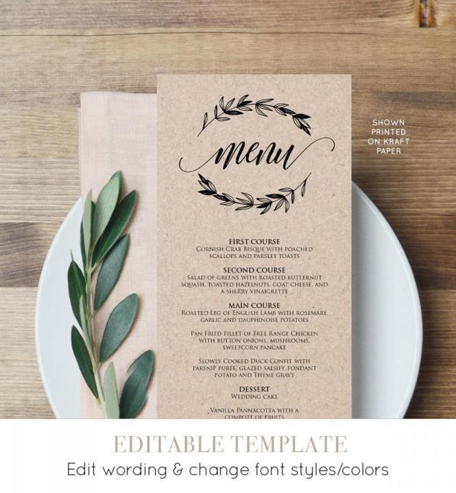Rustic Wedding Menu Template Printable Card Editable