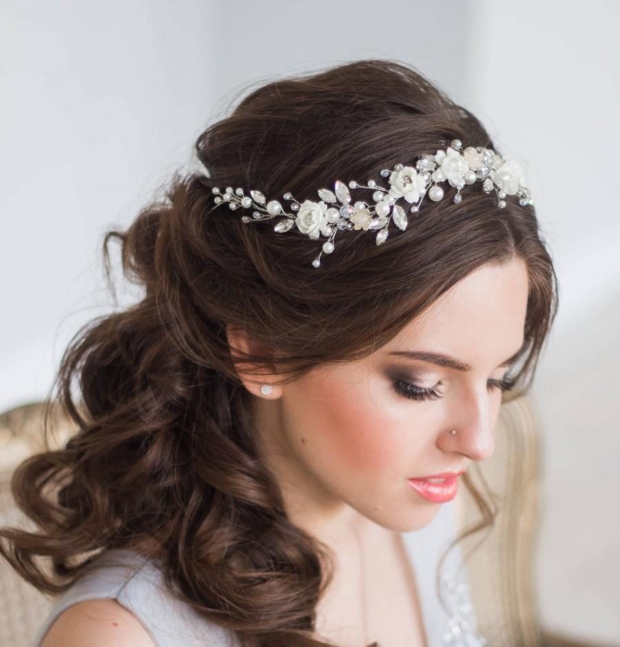 bridal hair vine floral bridal tiara wedding diadem pearl hair vine crystal wedding tiara