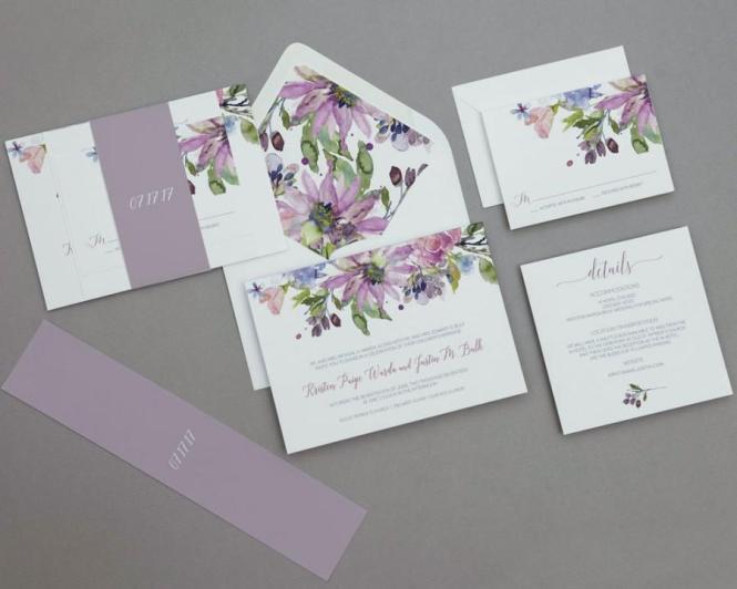 Modern Rustic Lilac Fl Wedding Invitations Boho