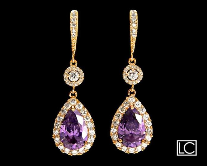 Amethyst Crystal Gold Chandelier Earrings Free Us Ship Purple Teardrop Halo Bridal Wedding 37 90 Usd