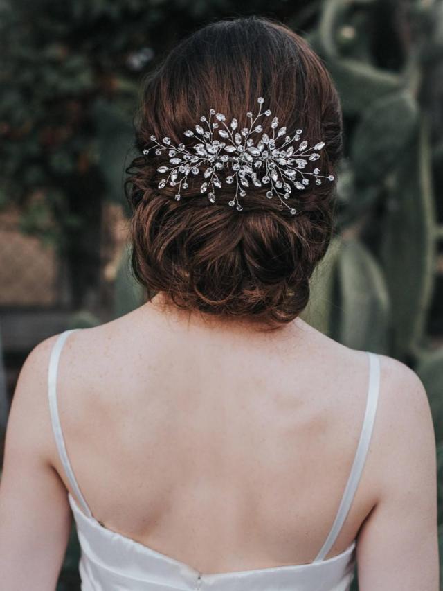 bridal hair comb, crystal pearl hair piece, wedding