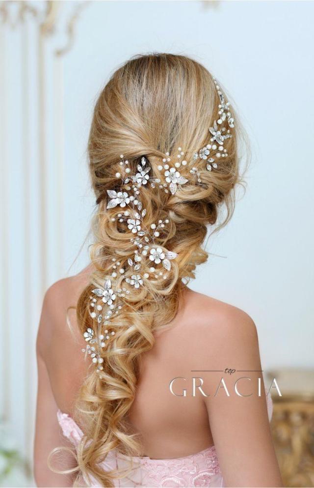 dora flower long wedding hair accessories crystal bridal