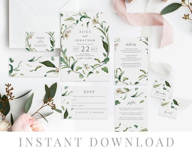 Green Leaves Wedding Invitation Set Instant