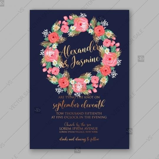 pink rose peony wedding invitation card dark blue background baby shower invitation 2840915 weddbook