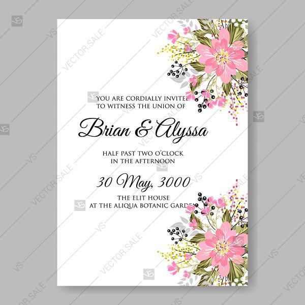Sakura Pink Cherry Blossom Flowers An Wedding Invitation