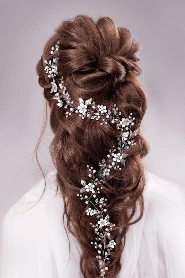 bridal hair vine long hair vine wedding hair vine flower