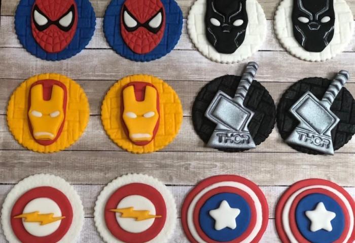 Edible Mixed Super Hero Avenger Villain Themed Fondant Birthday
