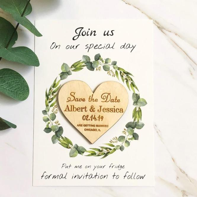 Save The Date Heart Personalized Wedding