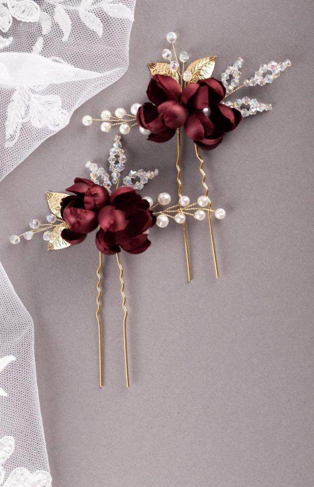 burgundy silk flower hair pins burgundy rosebud hair pin