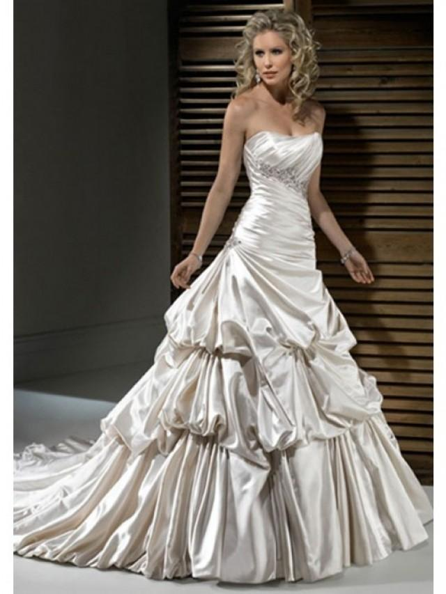 A Line Strapless Ivory Satin Tiered Skirt Bubble Skirt