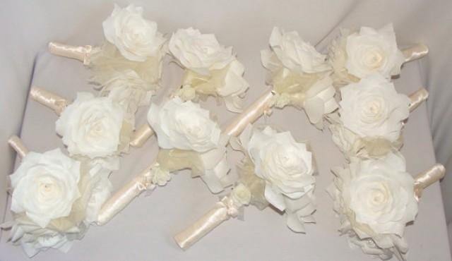 White Bridal Bouquets, Ivory Wedding Bouquet, Paper