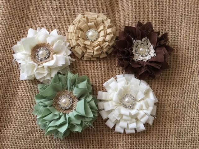 5 Shabby Chic Handmade Fabric Flowers Ivory Brown Beige