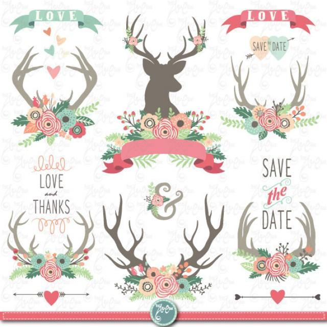 Wedding Clip Art WEDDING FLORAL ANTLERS ClipartFloral
