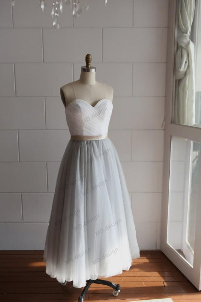 Strapless Ivory Lace Silver Grey Tulle Tea Length Short Wedding Dress Bridesmaid Dress Prom