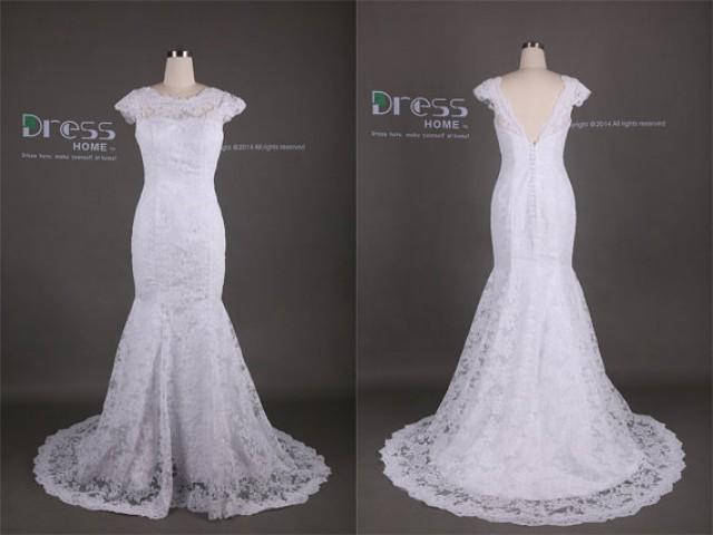 White Cap Sleeve Lace Mermaid Wedding Dress/Lace Fishtail