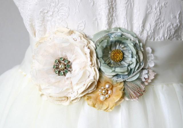 Robins Egg Blue And Yellow Floral Bridal Sash, Wedding