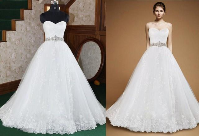 Actual Pictures Crystal Beaded Sash A-Line Wedding Dresses