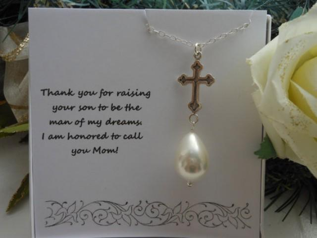 Mother Of The Groom Gift, Silver Cross, Pearl Necklace