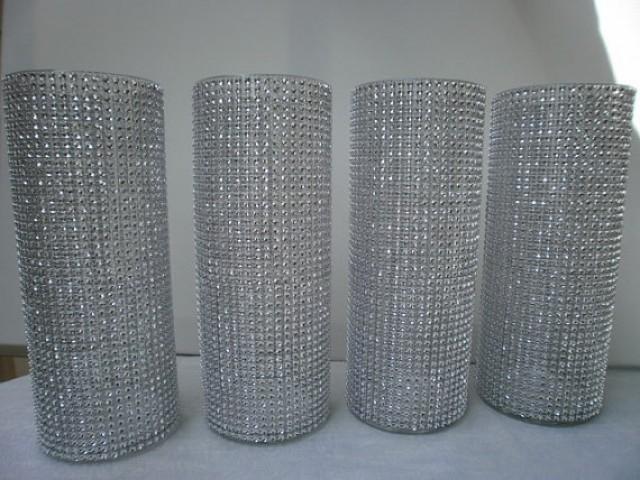 Set Of 10 9 Tall Cylinder Rhinestone Vase Bouquet Vases
