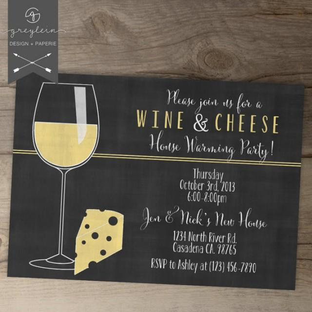 Wine And Cheese Invitations House Warming Chalkboard