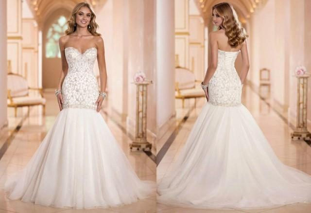 New Arrival Sexy Sweetheart Luxury Beaded Mermaid Wedding