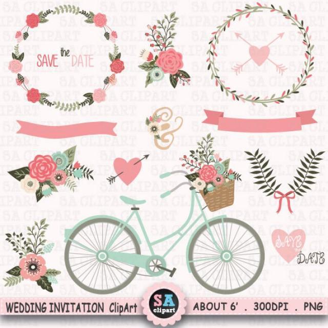 wedding invitation clipart wedding clip art floral bicycle banner vintage flowers laurel flower basket wedding wreath wedding bicyclewf067 2310427 weddbook