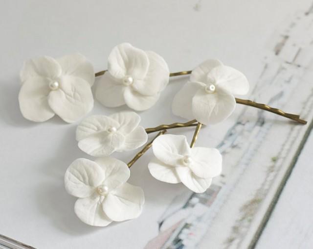 Hydrangea Hair Clips White Hydrangea Flowers Bridal