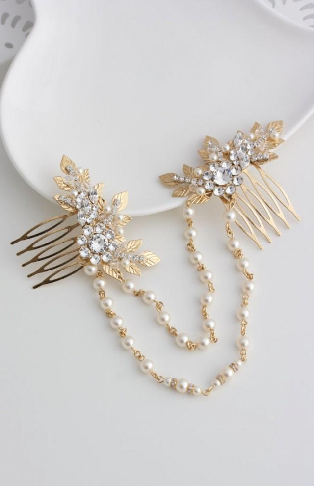 Gold Hair Chain Wedding Headpiece Leaf Head Piece Draped