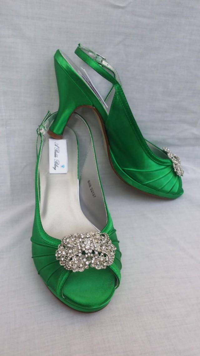 Wedding Shoes Kelly Green Bridal Shoes Sling Back Shoes