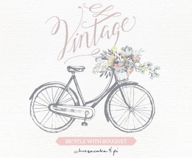 vintage bicycle with floral bouquet clipart wedding invitation clip art graphics commercial use rustic cm0062a 2340333 weddbook