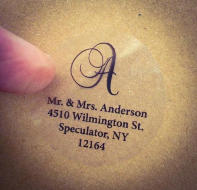 Clear Script Monogram Address Labels