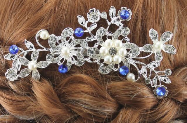 Bridal Hair Comb Wedding Hair Comb Sapphire Blue Pearl