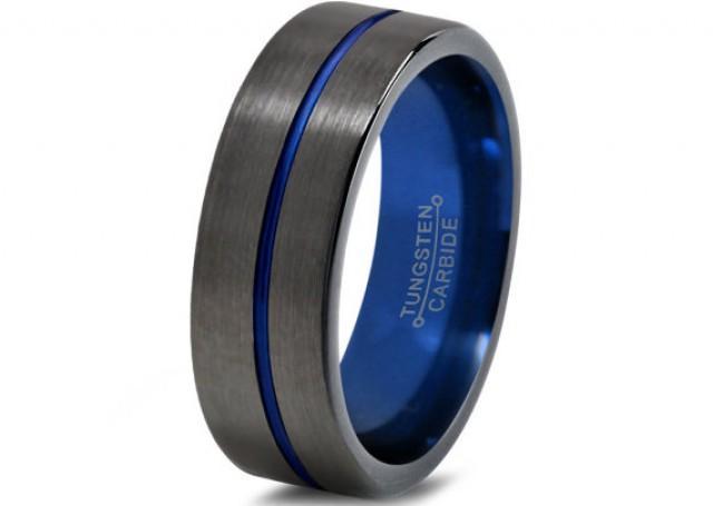 Mens Gunmetal Wedding Band Tungsten Carbide Brushed