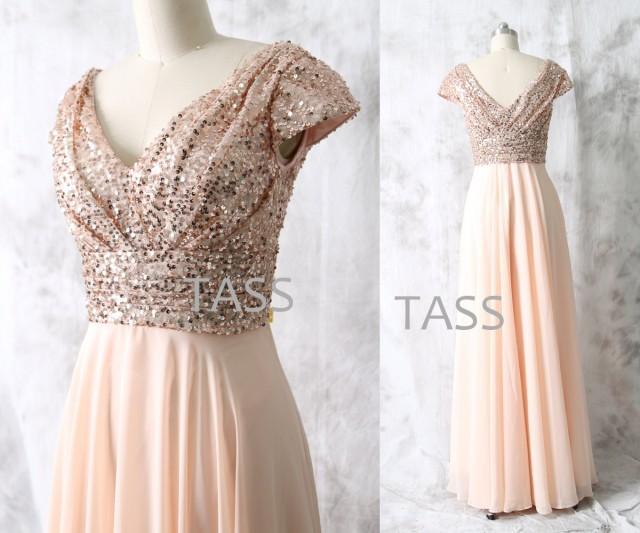 Rose Gold Sequin Chiffon Long Bridesmaid Dress, Cap