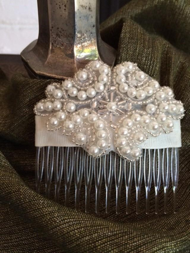 Pearl And Silver Seed Bead Bridal Comb Ivory Wedding Comb
