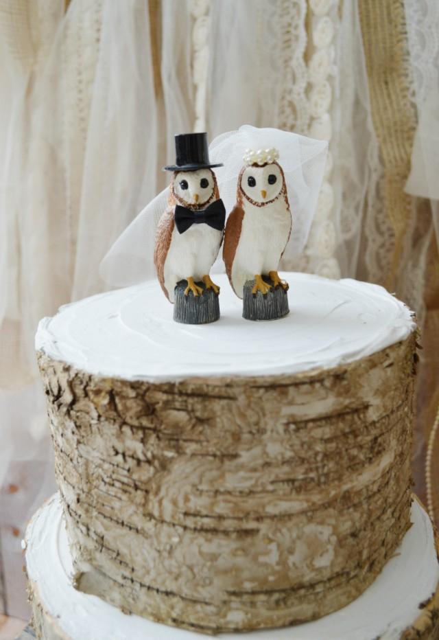 Owls Wedding Cake Topper Snow Owl Barn Wedding Bride Groom