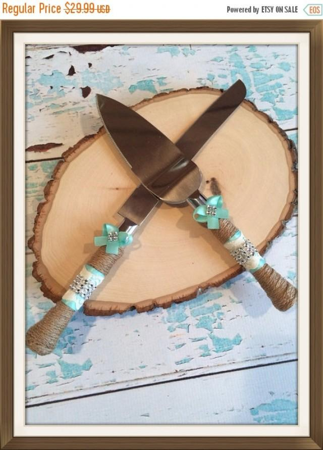 Black Friday Sale AQUA Blue Wedding Cake Knife Set