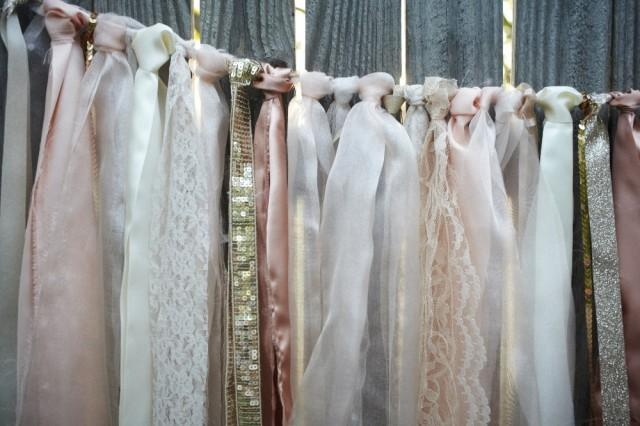 Blush And Ivory Lace Backdrop With Ribbons Lace