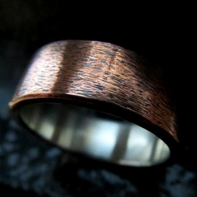 Mens Wedding Ring Unusual Rustic Steampunk Subtle Texture