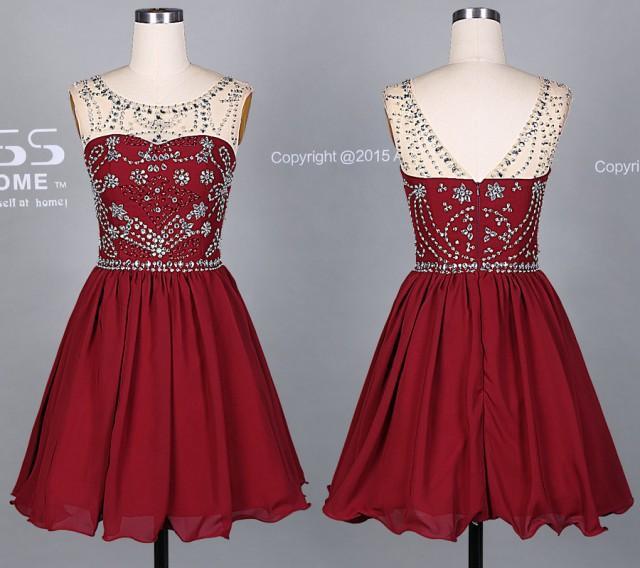 Burgundy Short Prom DressSilver Beading Homecoming Dress