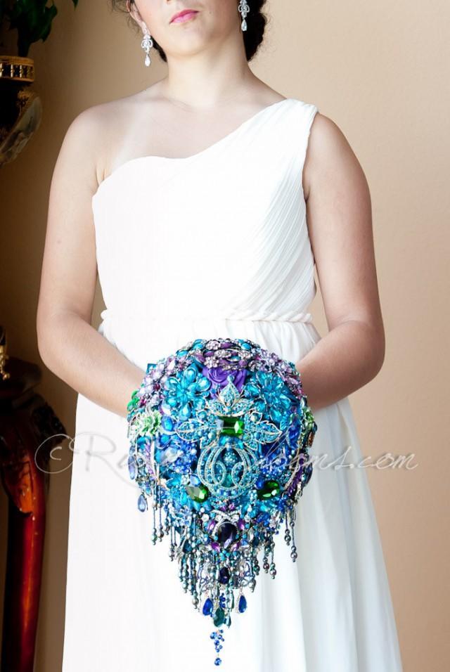 Cascading Blue Teal Peacock Wedding Brooch Bouquet