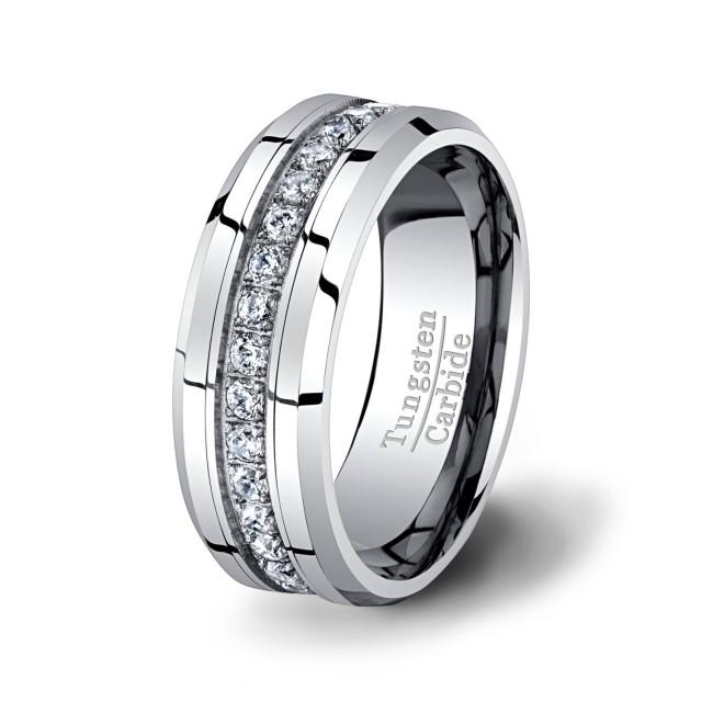 Mens Wedding Band High End Tungsten Ring Stacked CZ