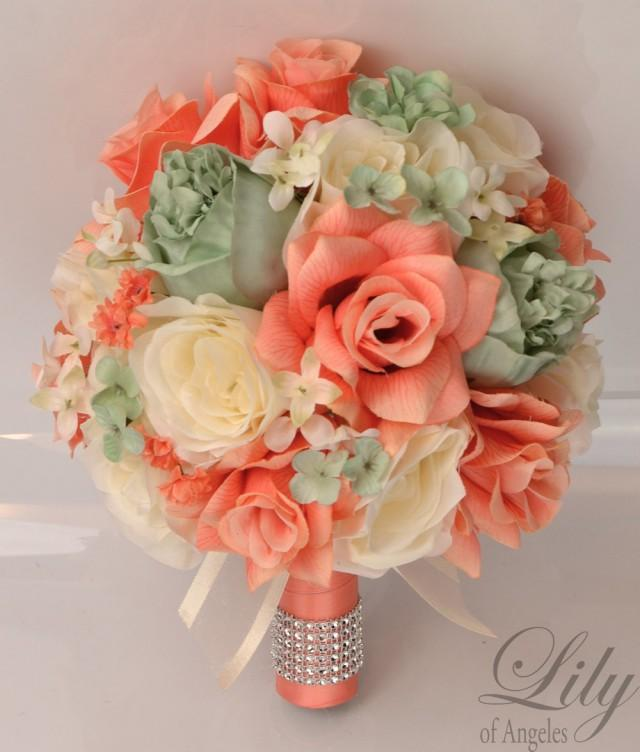 17 Piece Package Silk Flowers Wedding Bridal Bouquet Party